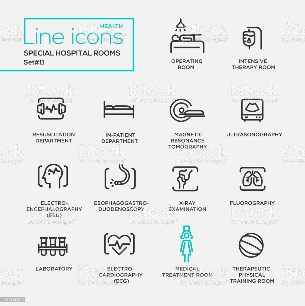 Hospital special rooms - line design pictograms set vector art illustration