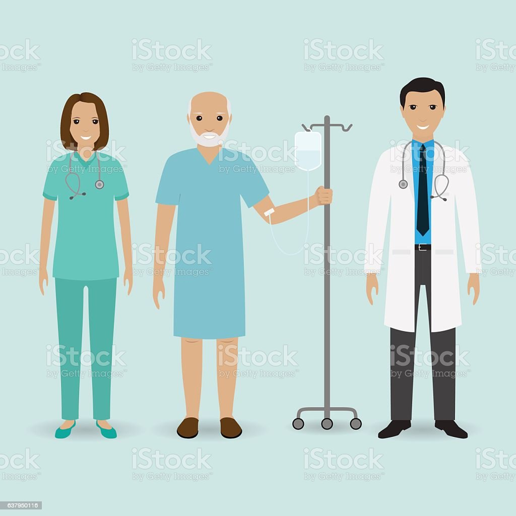 Hospital staff concept. Doctor, nurse and senior patient with drop vector art illustration