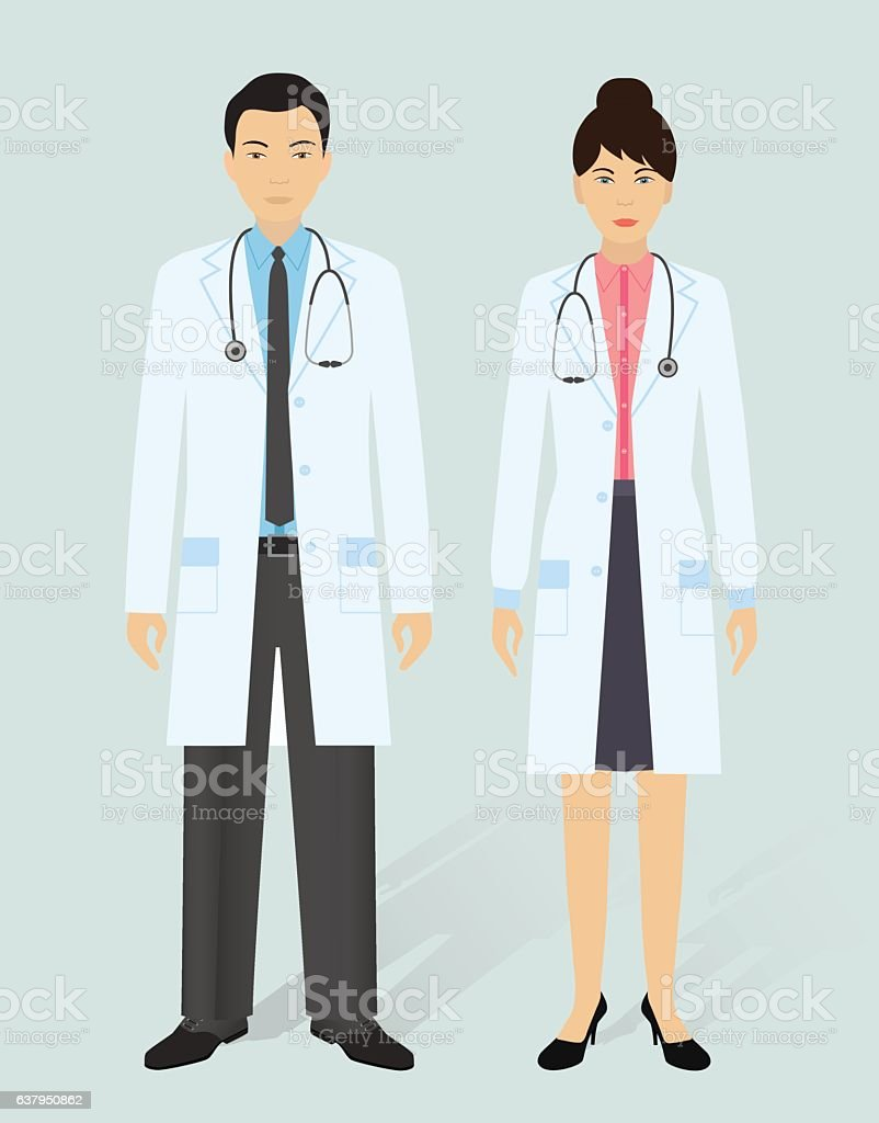 Hospital staff concept. Man and woman asian doctors vector art illustration