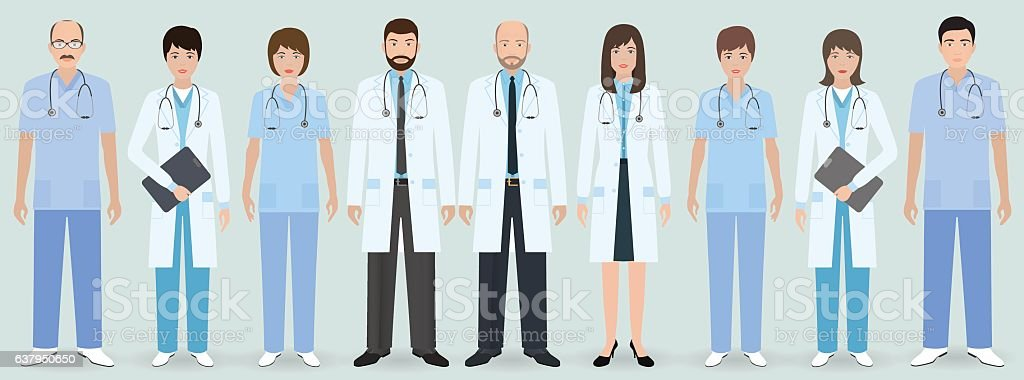 Hospital staff. Group of nine men and women doctors vector art illustration