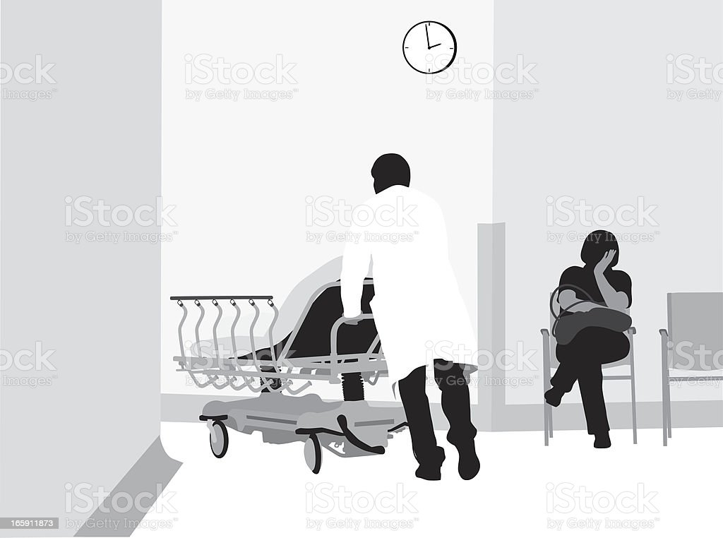 Hospital Stay Vector Silhouette royalty-free stock vector art