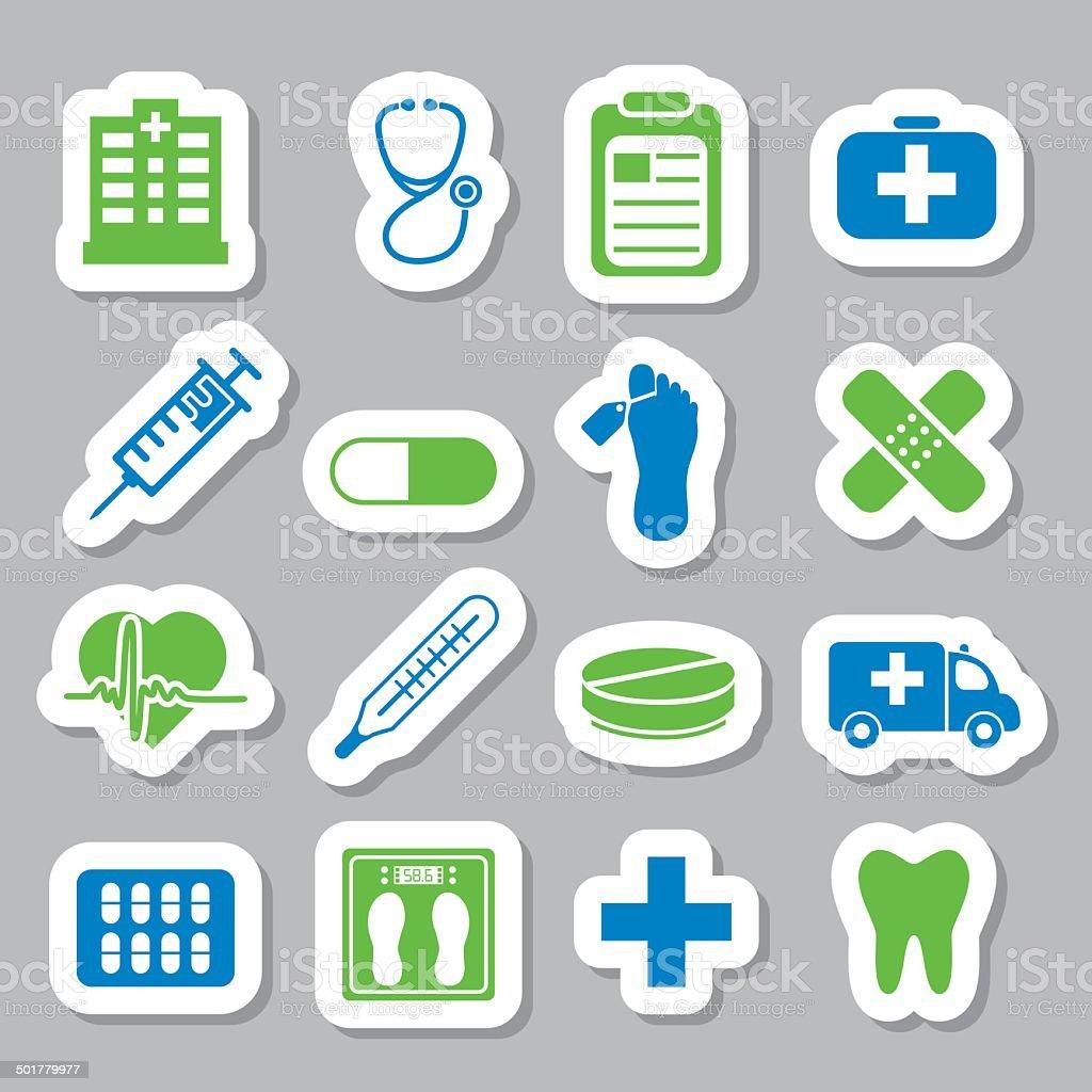 hospital stickers vector art illustration