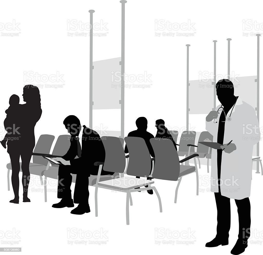 Hospital Waiting Room And Patients vector art illustration