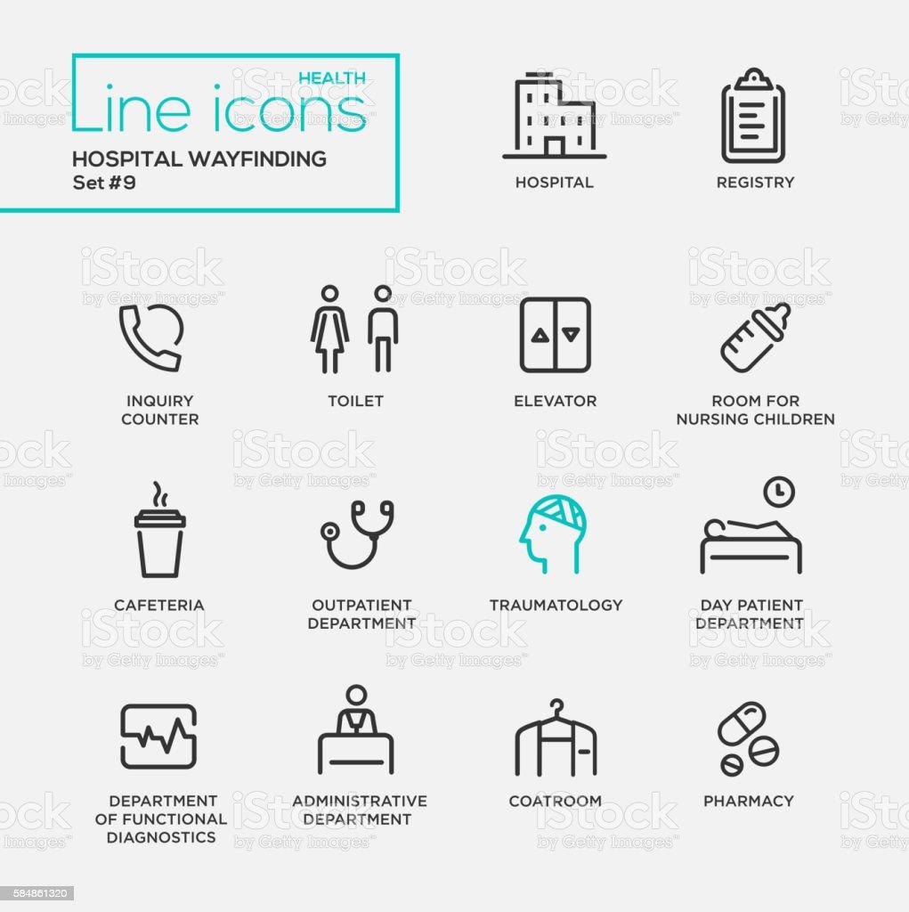 Hospital wayfindings - line design pictograms set vector art illustration