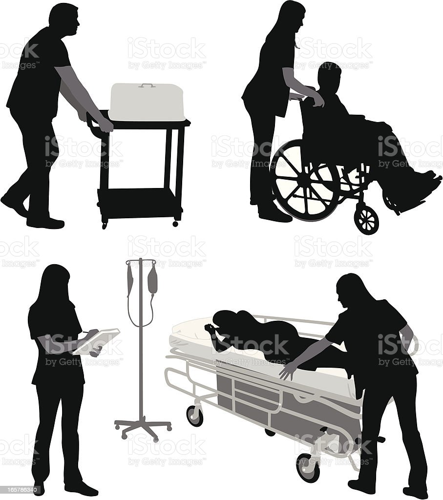 Hospital Work Vector Silhouette royalty-free stock vector art