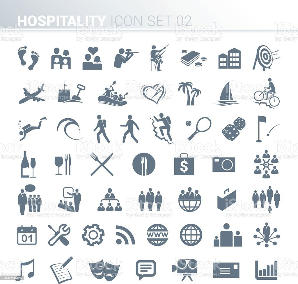 Hospitality activity icons vector art illustration