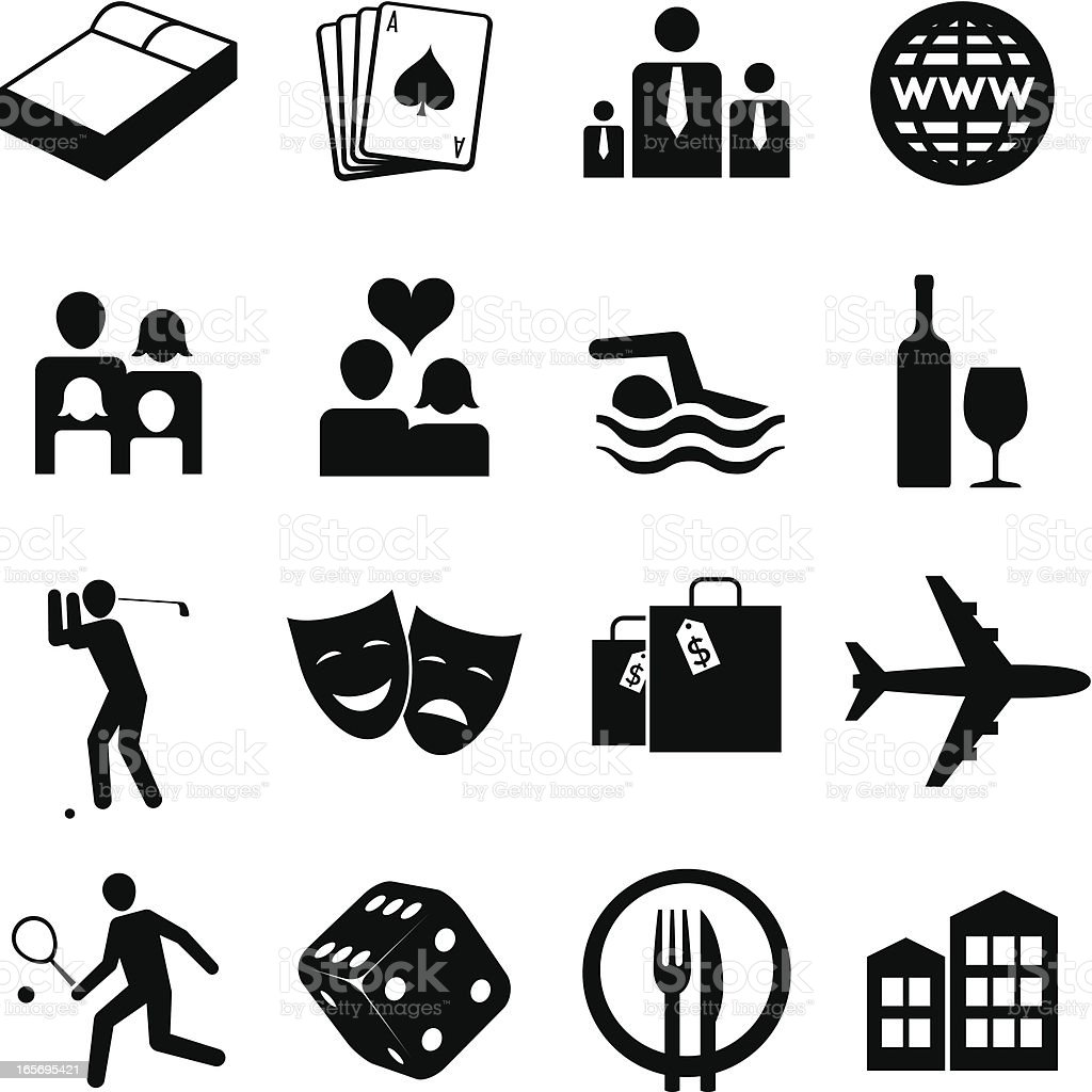 Hospitality icons vector art illustration