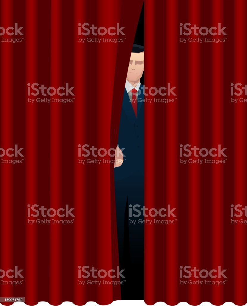 Host Presenter behind theater curtain theatrical stage opening vector art illustration