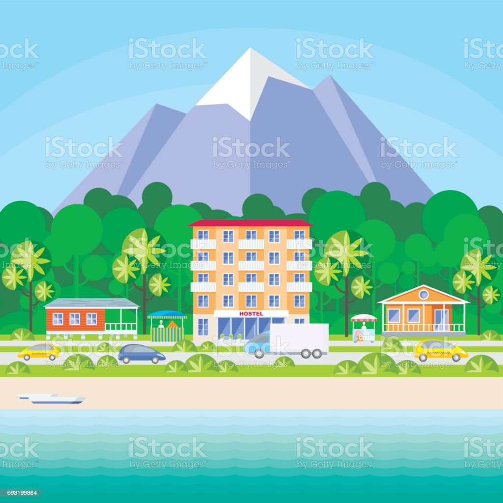 hostel and beach houses vector art illustration