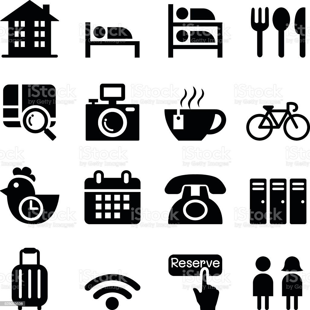 Hostel & Hotel icon set vector art illustration