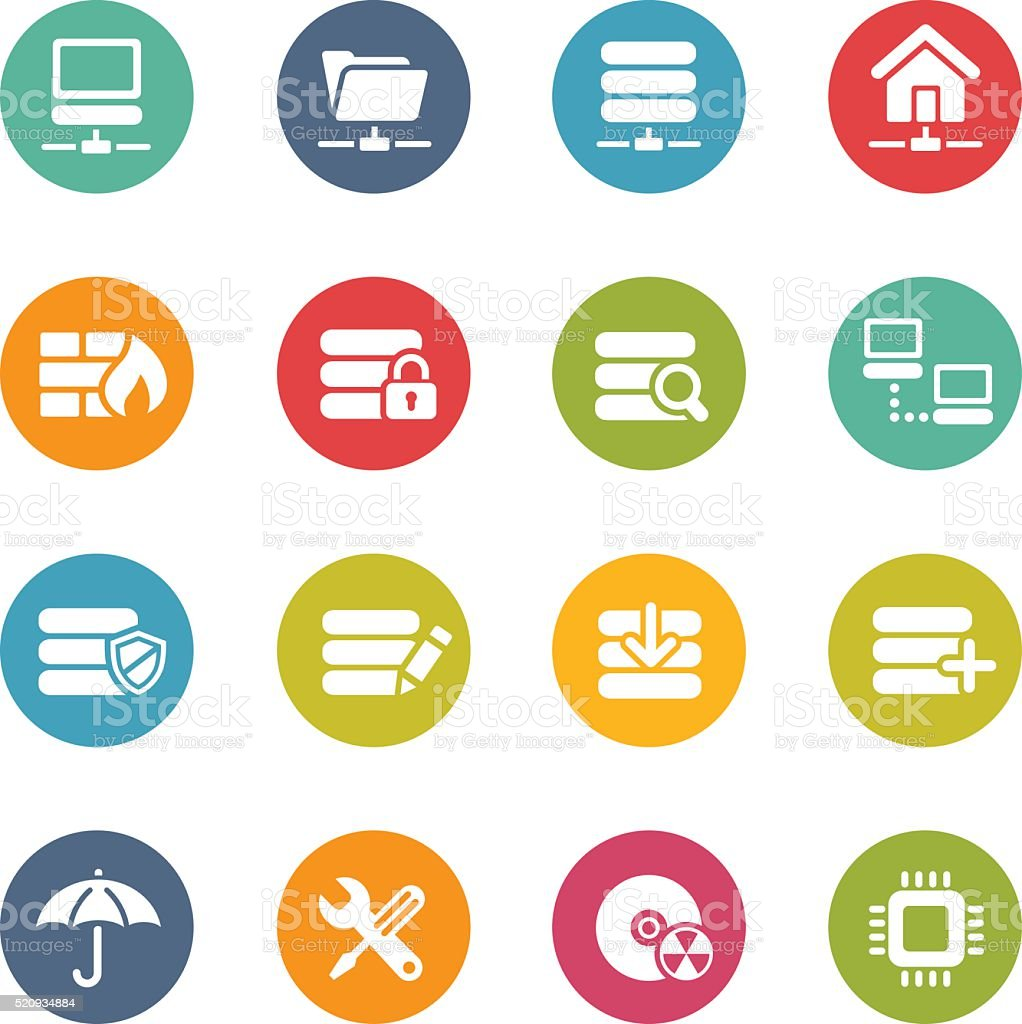 Hosting and Network Icons - Fresh Colors vector art illustration
