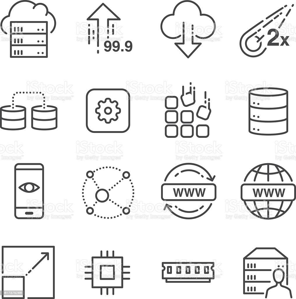 Hosting and server related line icons set 2 vector art illustration