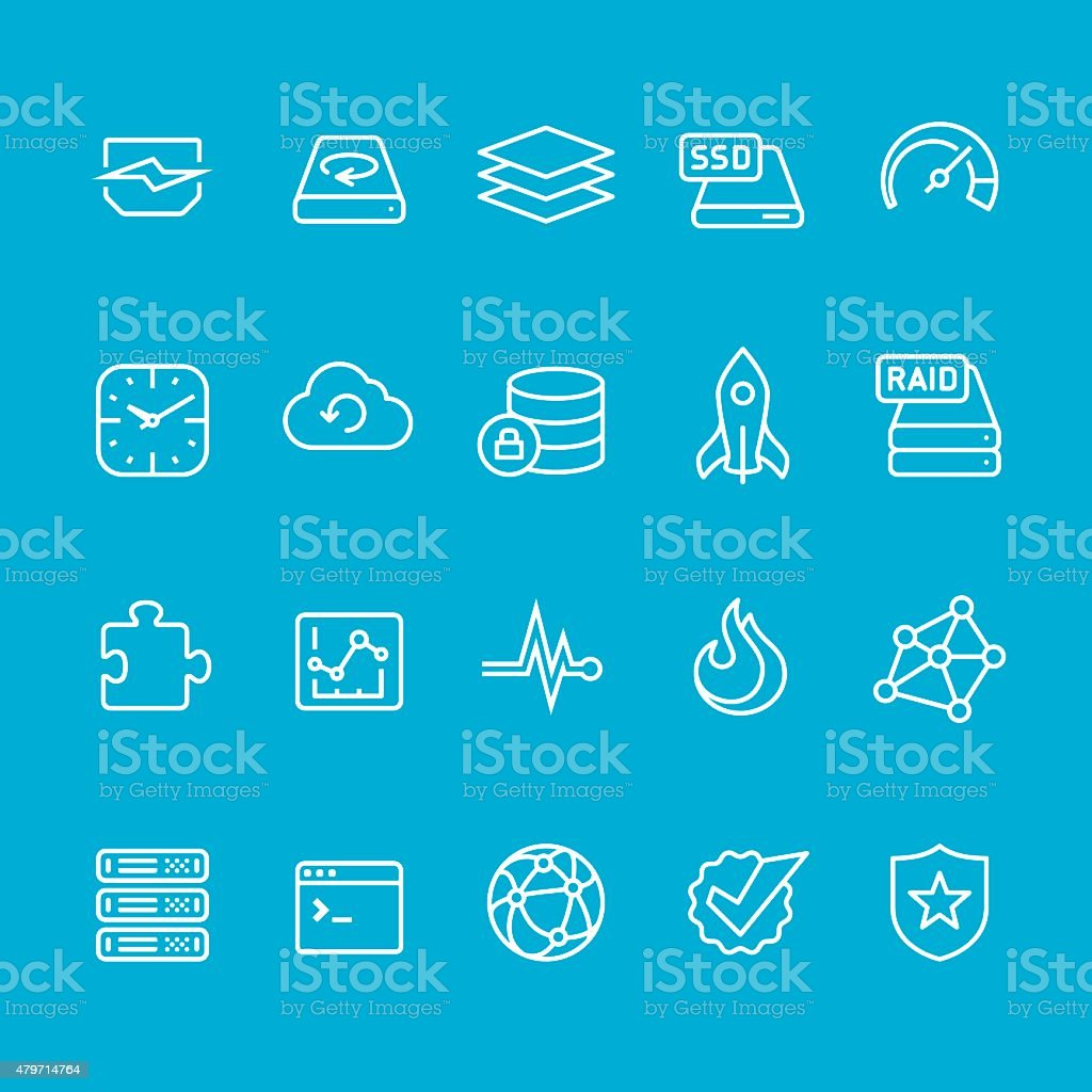 Hosting and storage UI vector stroke icons vector art illustration