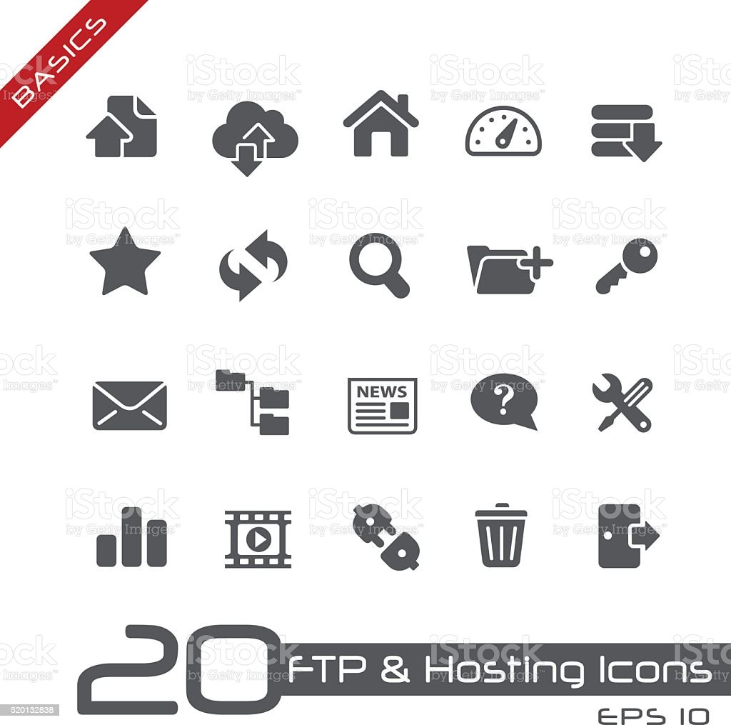 FTP & Hosting Icons - Basics vector art illustration