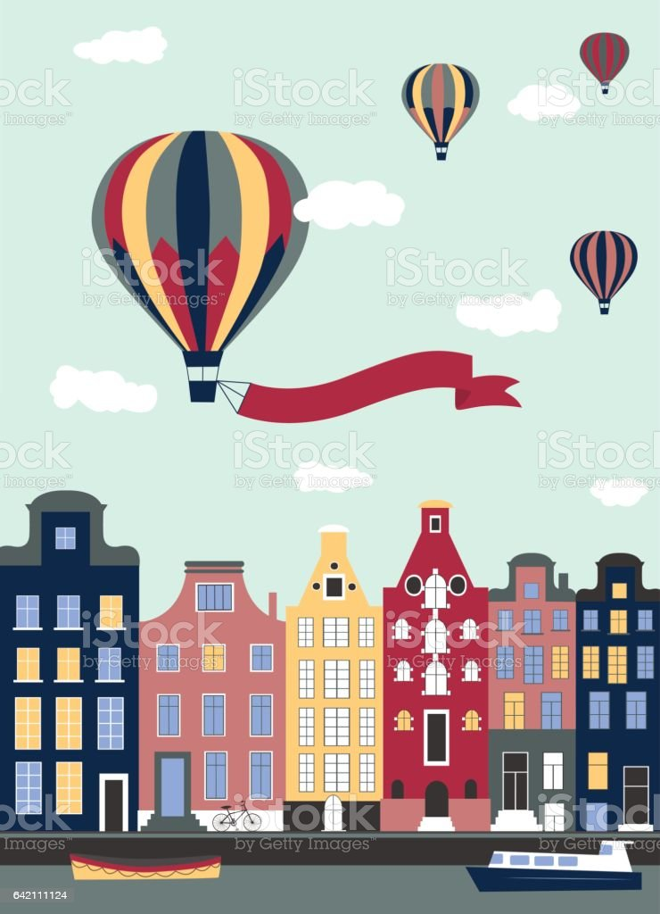 Hot air ballons flying over the town. vector art illustration