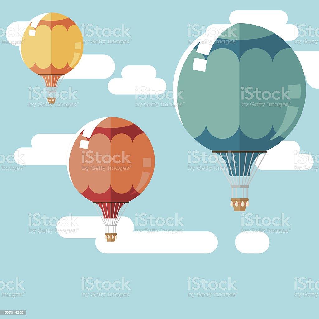 Hot Air Balloon Background vector art illustration