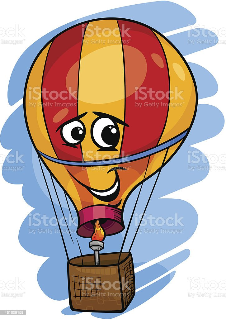 hot air balloon cartoon illustration royalty-free stock vector art