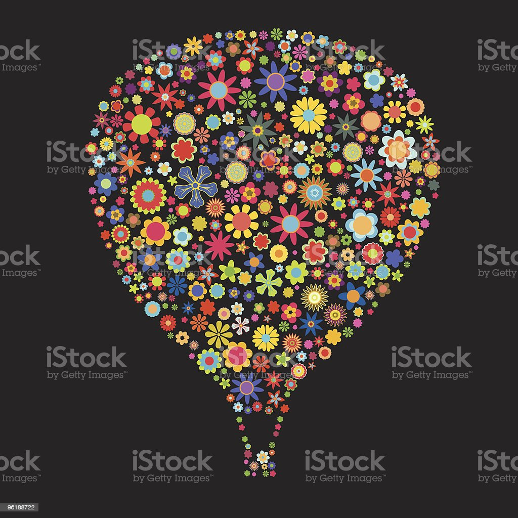 Hot air balloon drawing comprised of tiny flowers royalty-free stock vector art