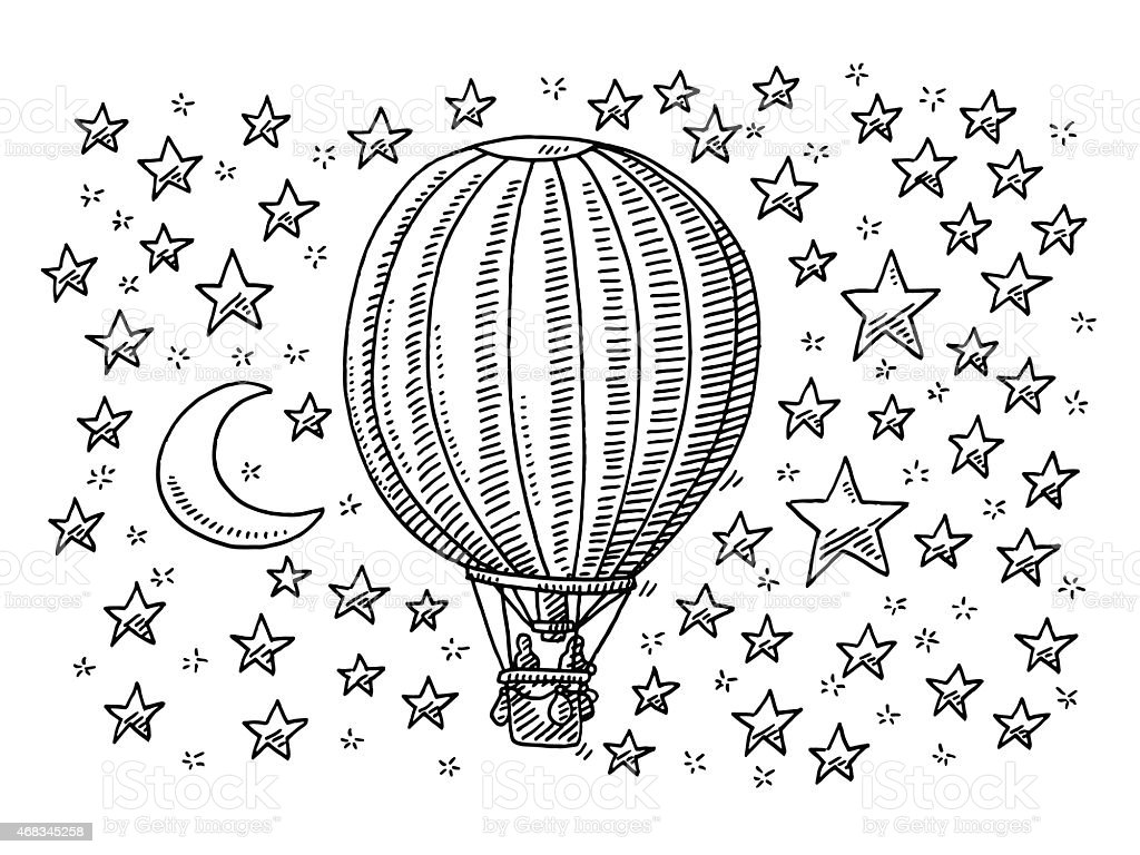 Hot Air Balloon Flying To The Moon And Stars Drawing vector art illustration