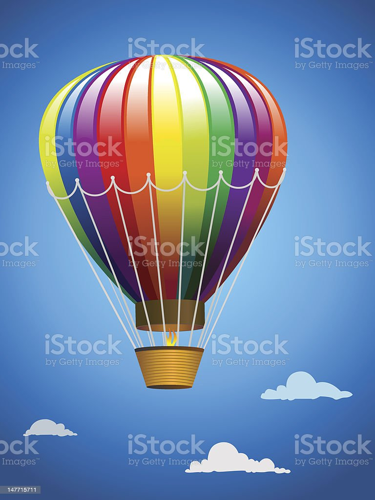 Hot air balloon in flight royalty-free stock vector art