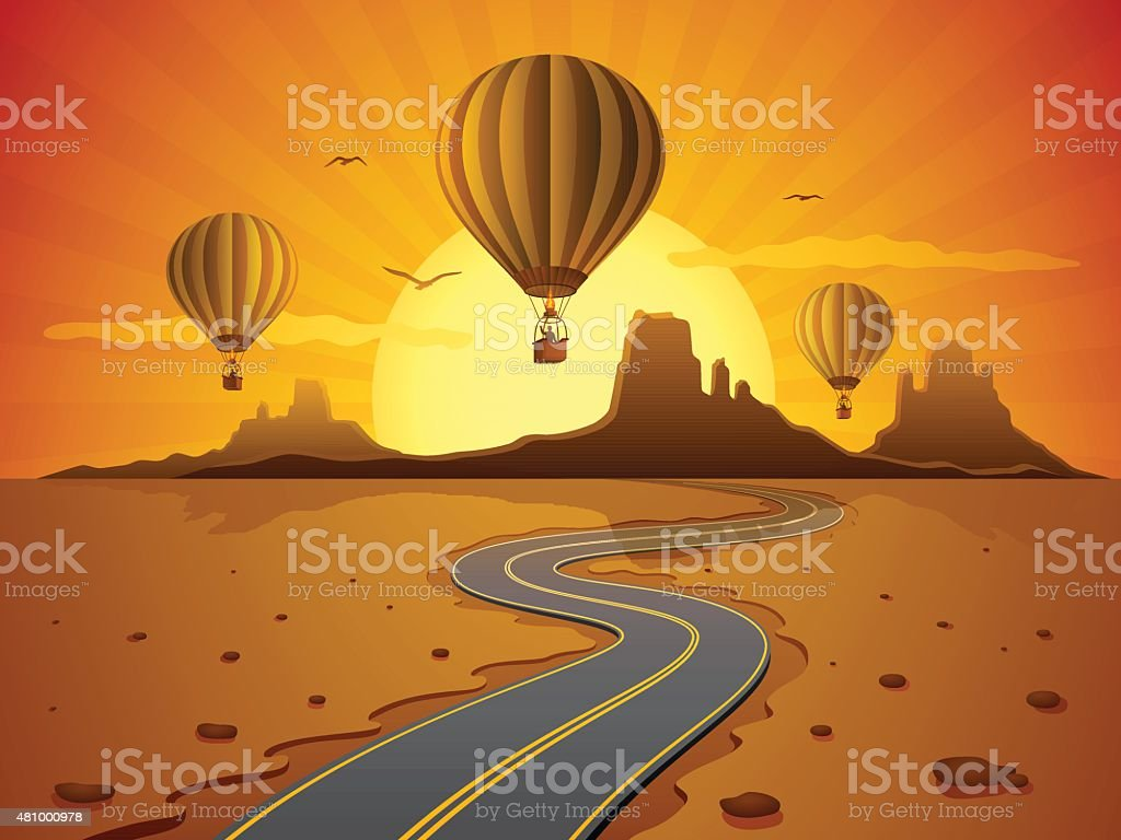 Hot Air Balloon Travel vector art illustration