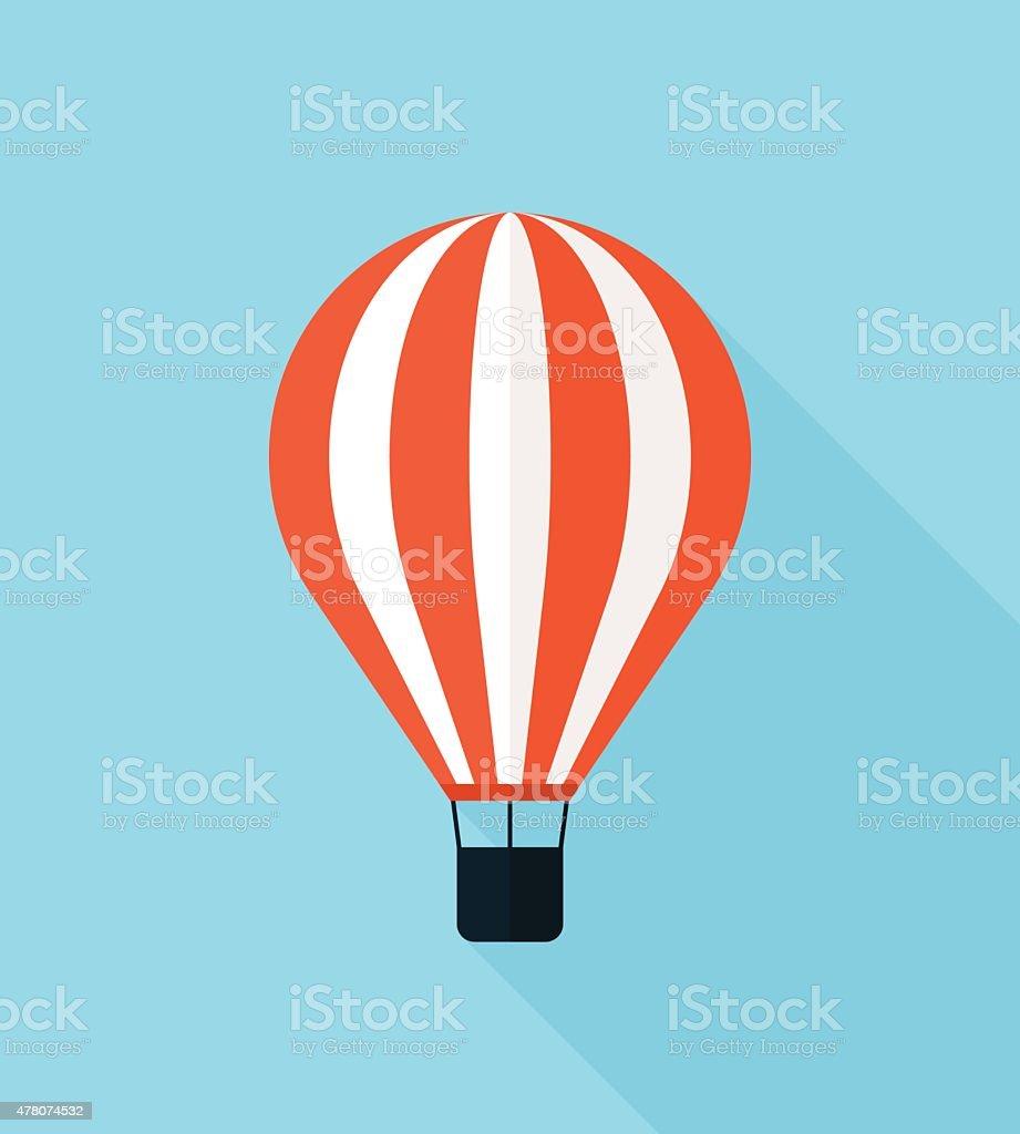 Hot air balloon vector icon, modern minimal flat design style vector art illustration