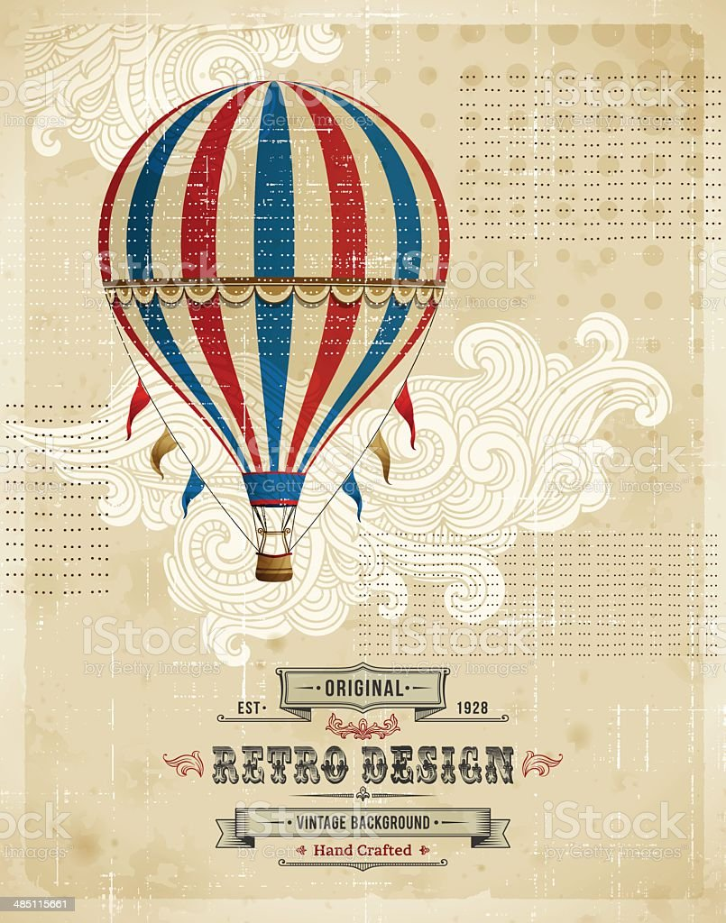 Hot Air Balloon Vintage Background vector art illustration