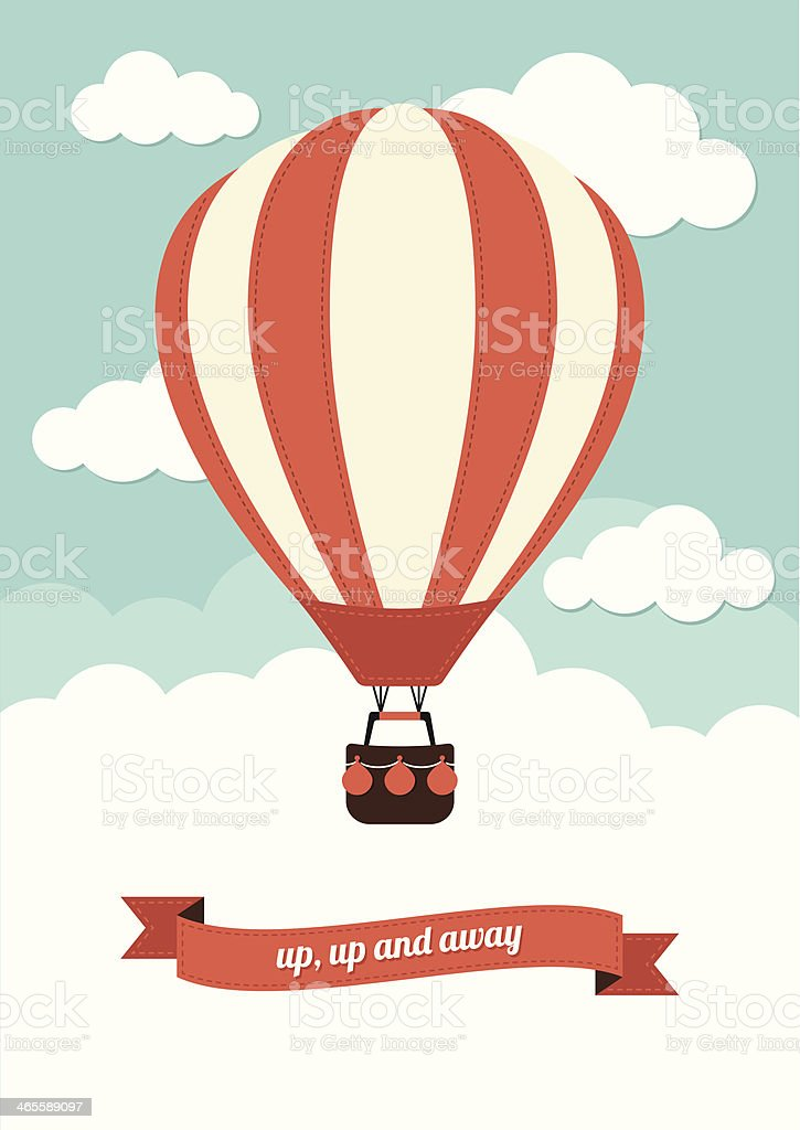 Hot Air Balloon Vintage Graphic vector art illustration