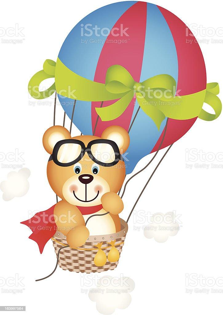 Hot air balloon with teddy bear royalty-free stock vector art