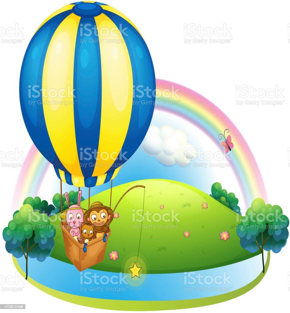 Hot air balloon with three animals royalty-free stock vector art