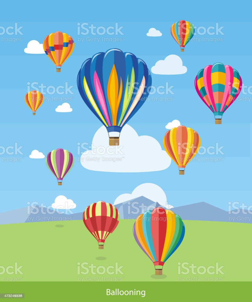 Colorful hot air balloons flying over the mountain. Icons of...