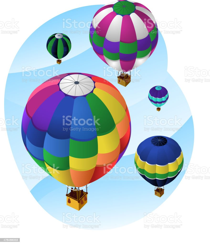 Hot Air Balloons in the sky royalty-free stock vector art