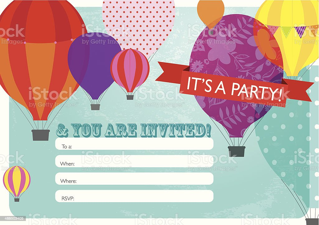 heißluftballonpartyeinladung designvorlage vektor illustration, Einladungsentwurf