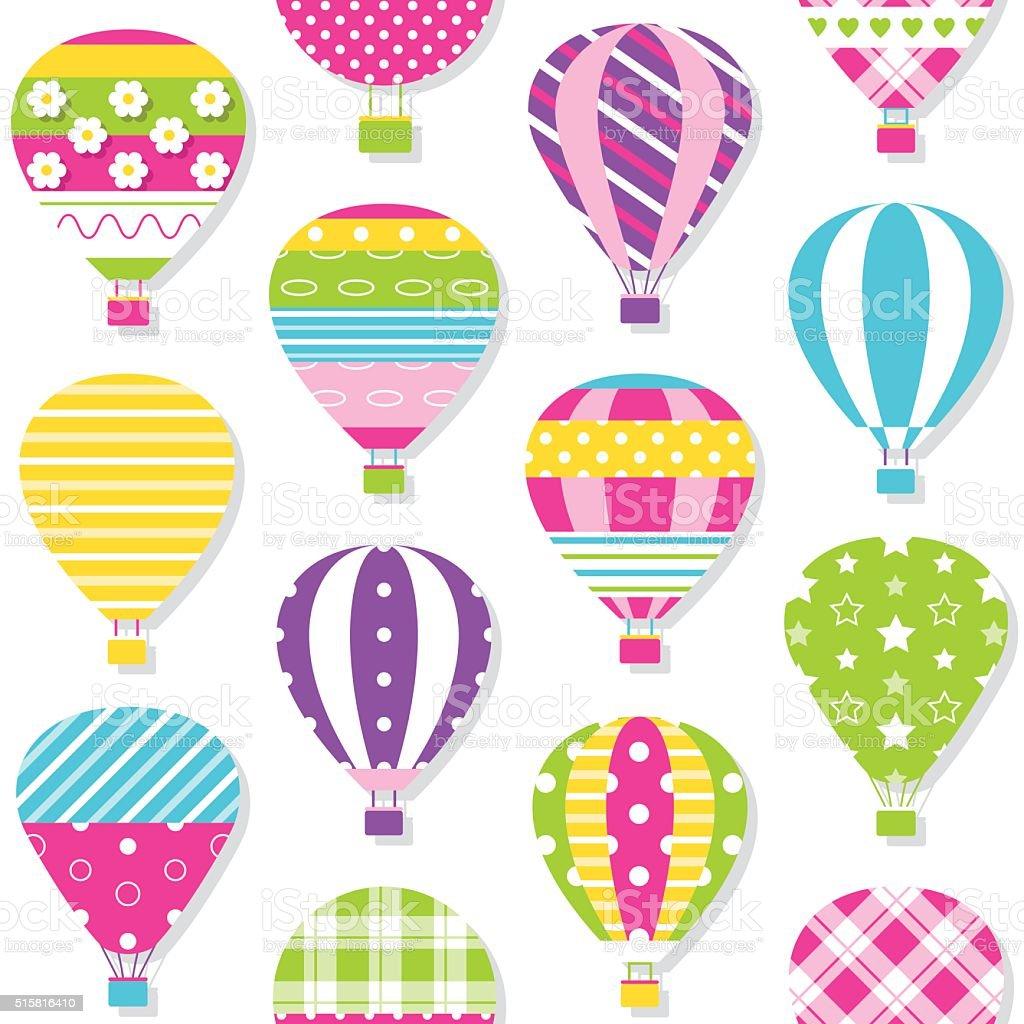 hot air balloons pattern vector art illustration