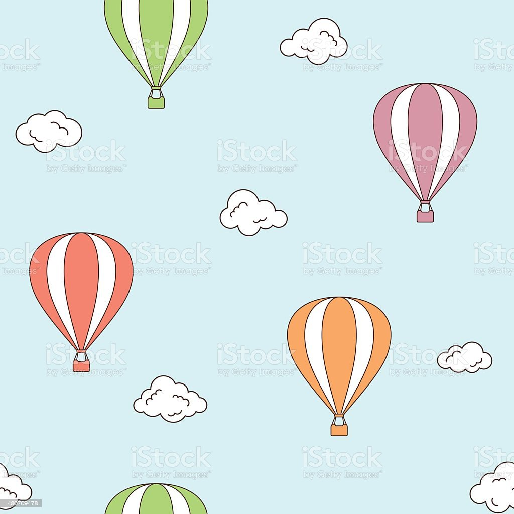 Hot air balloons seamless background vector art illustration