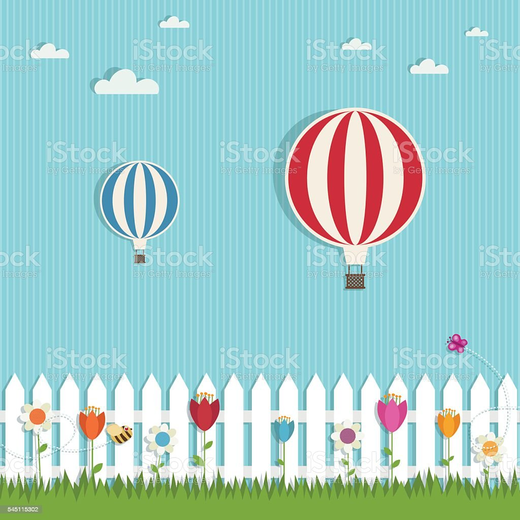 hot air balloons vector art illustration