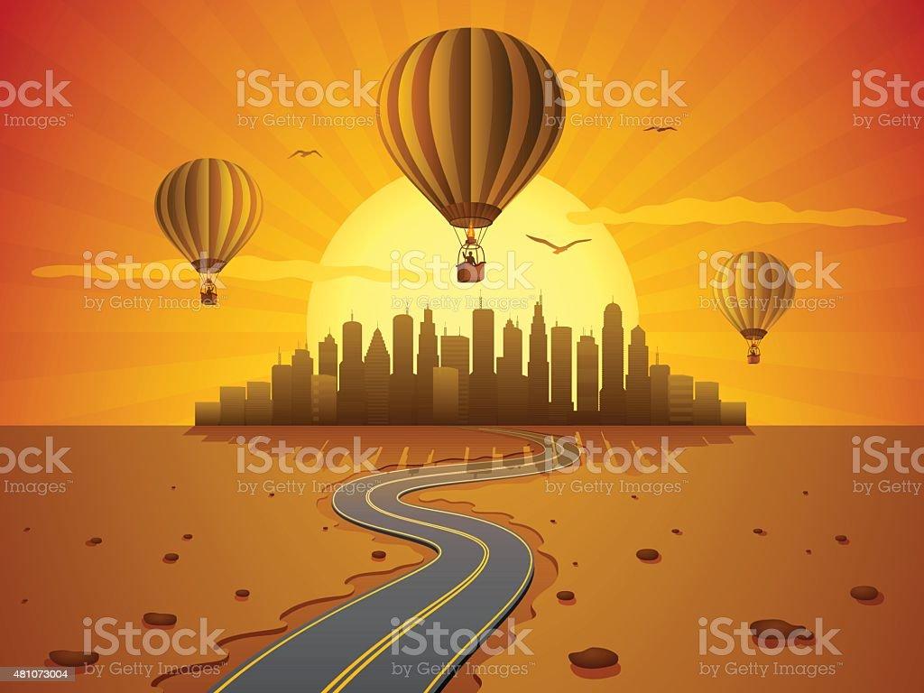 Hot Air Journey vector art illustration