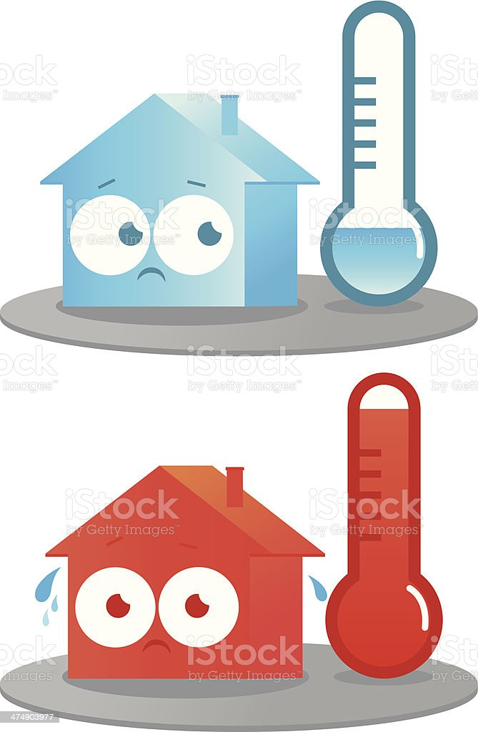 Hot and cold house vector art illustration