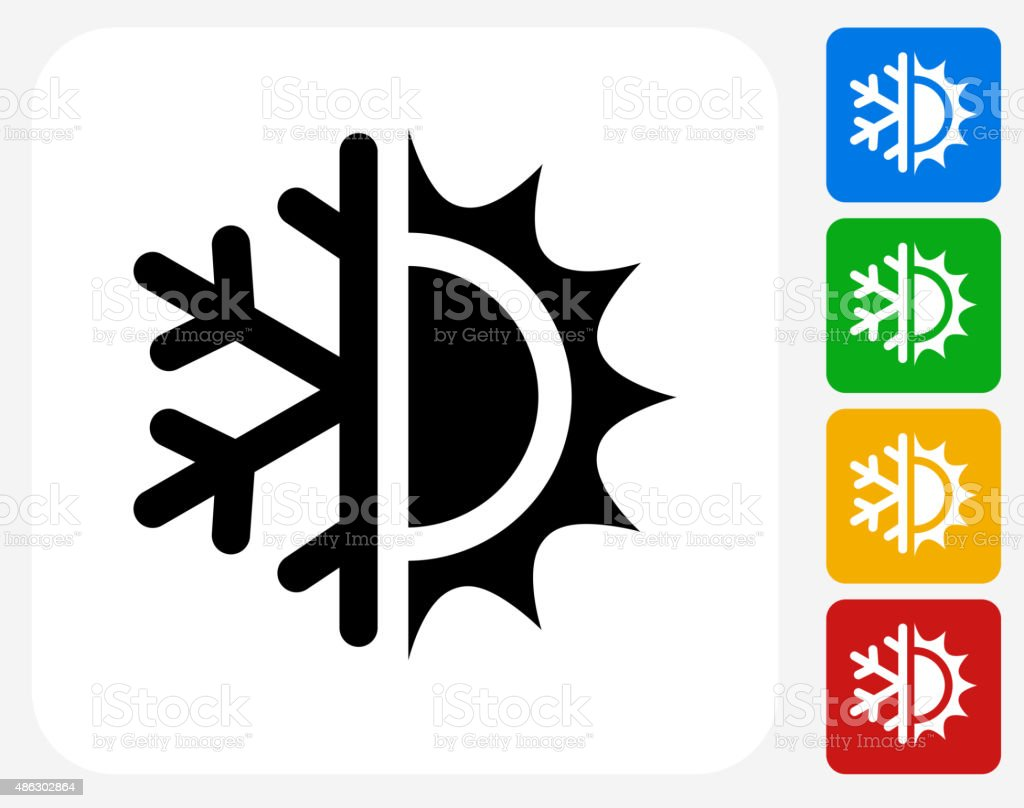 Hot and Cold Icon Flat Graphic Design vector art illustration