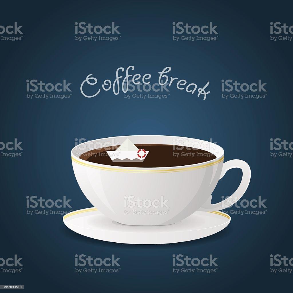 Hot beverage and coffee break vector art illustration