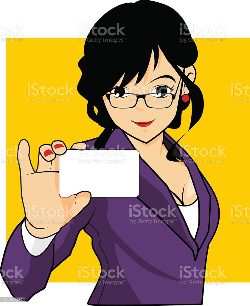Hot Bussines Woman Holding A Bussines Card vector art illustration