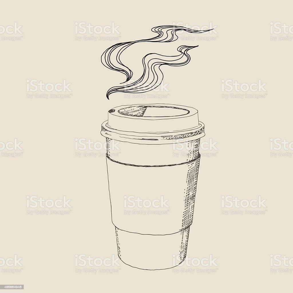 Hot Caffee Drawing vector art illustration