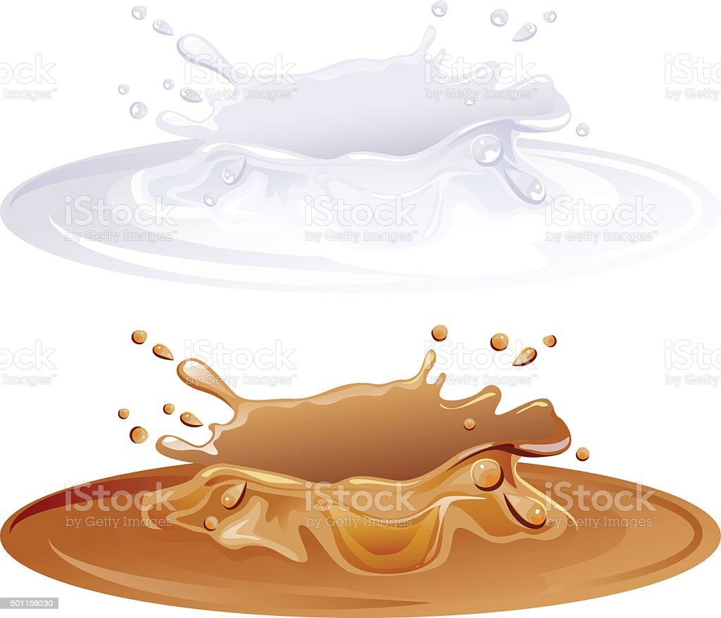 Hot caramel puddle. White milk splashes vector art illustration