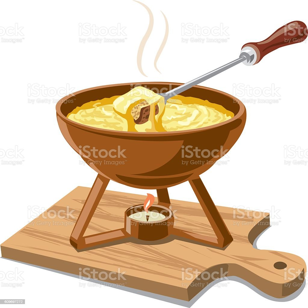 hot cheese fondue vector art illustration