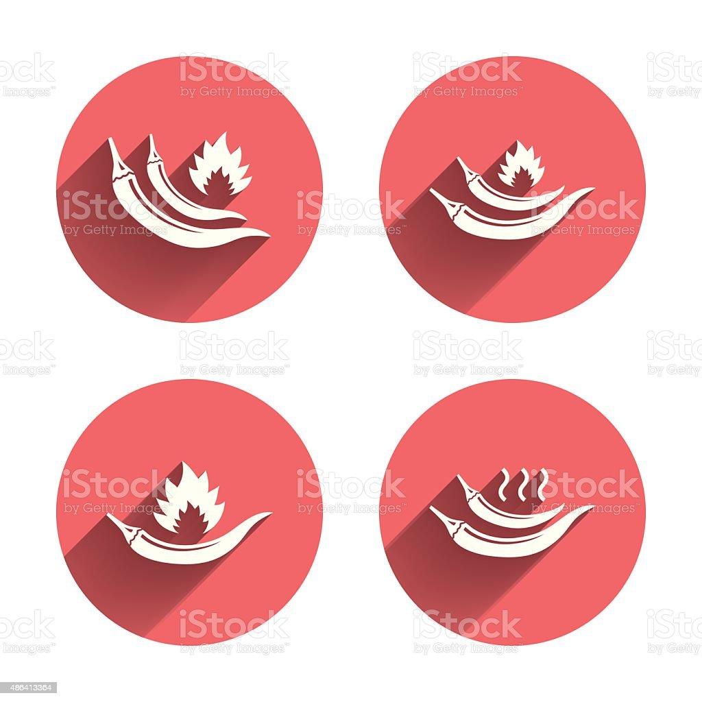 Hot chili pepper icons. Spicy food symbols vector art illustration