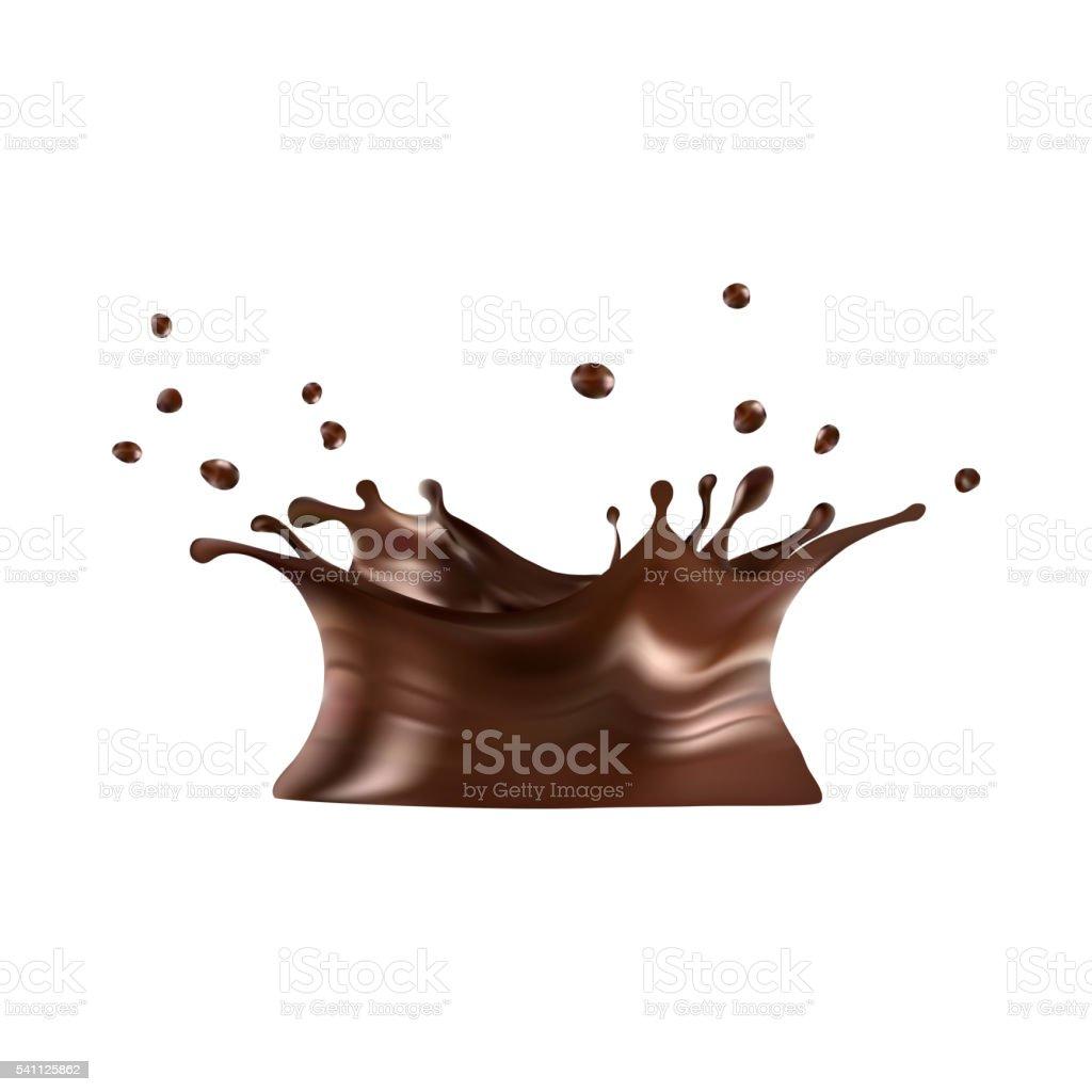 Hot chocolate splash with drops, vector illustration: gradient mesh. eps10 vector art illustration