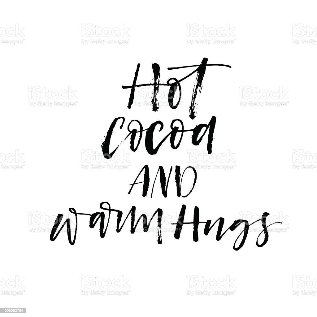Hot coca and warm hugs postcard. vector art illustration