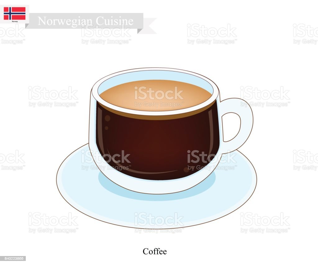 Hot Coffee, A Popular Drink in Norway vector art illustration