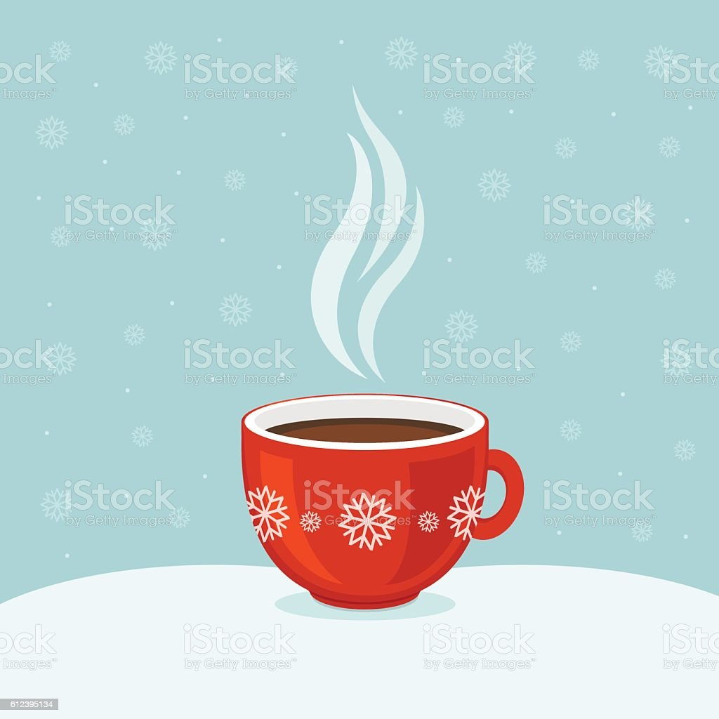 Hot coffee in red cup. Winter background. Christmas card. vector art illustration