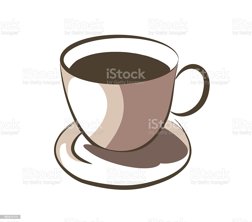 Hot coffee on cup royalty-free stock vector art